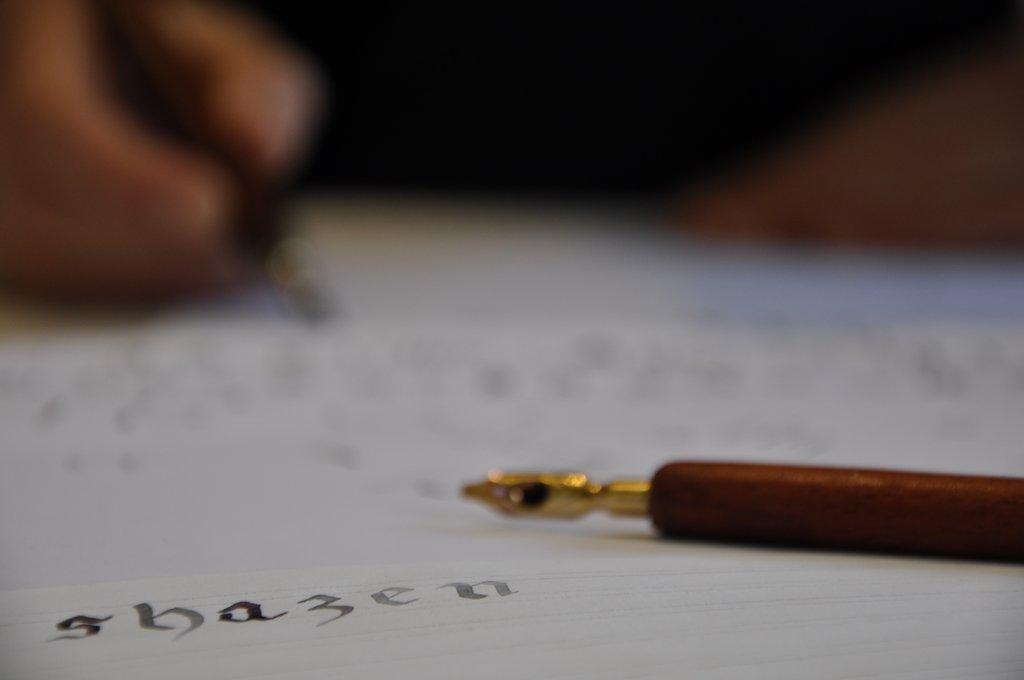 Shazen : 1er cours de Calligraphie avec Julien